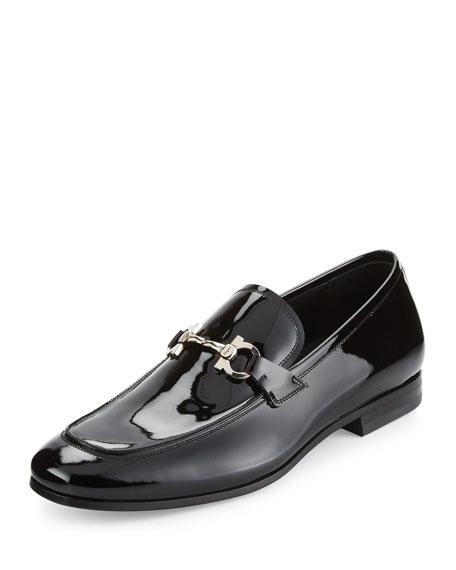 Salvatore Ferragamo Patent Leather Gancio Loafer, Black
