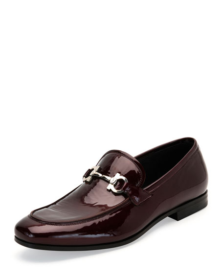 Salvatore Ferragamo Patent Leather Gancio Loafer, Bordeaux