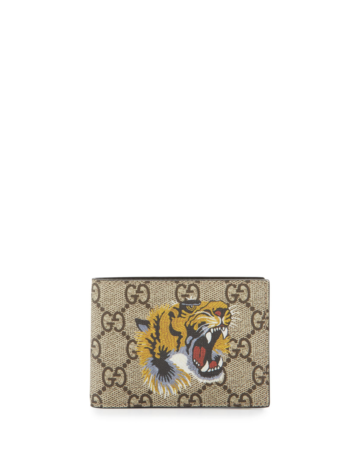 c27d2e417ee Gucci Bestiary Tiger-Print GG Supreme Wallet