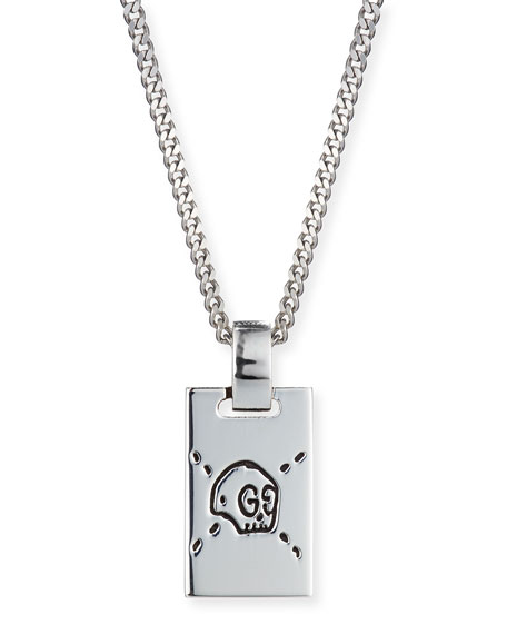 Men's GucciGhost Rectangle Pendant Necklace, Silver