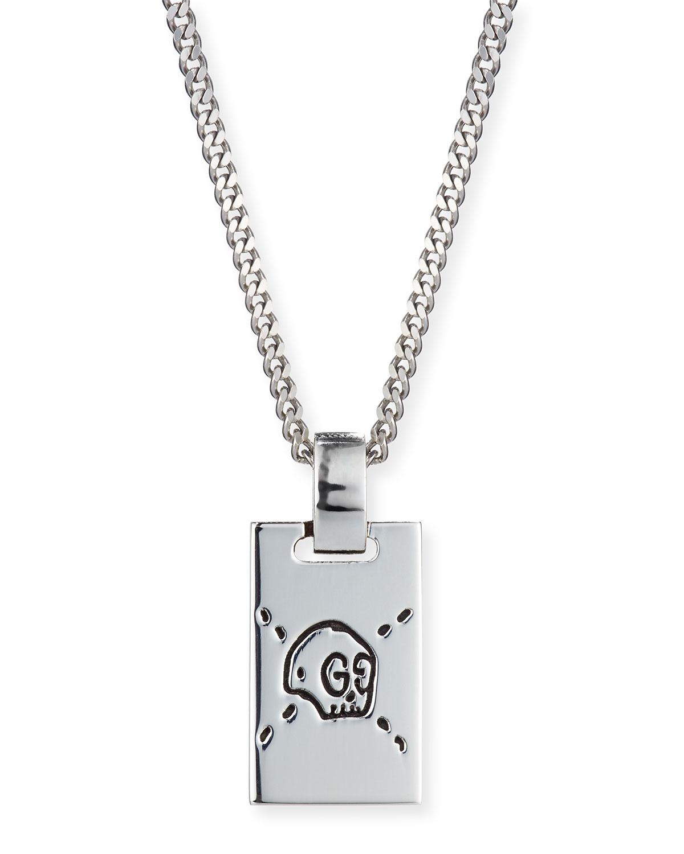 8f2afd1c6 Gucci Men's GucciGhost Rectangle Pendant Necklace, Silver | Neiman ...