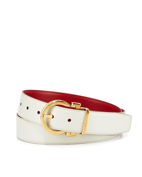 Salvatore Ferragamo Reversible Leather Gancio-Buckle Belt, White/Red