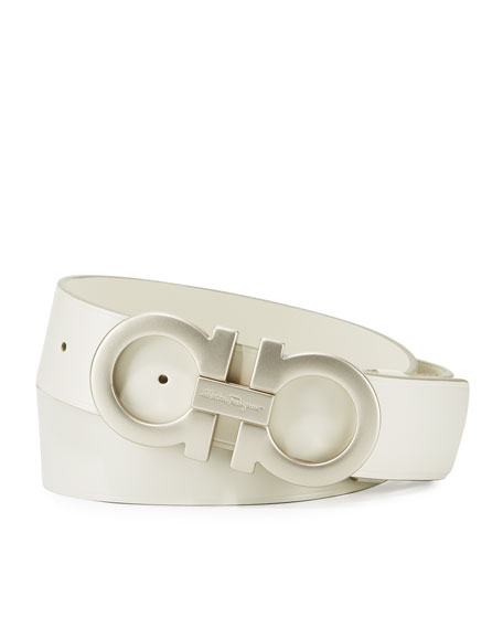Tonal Double-Gancini Buckle Belt, White