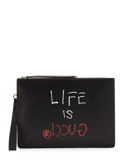 GucciGhost Life Is Gucci Zip Pouch, Black