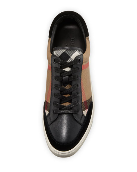 Reynold Check & Leather Sneaker, Camel