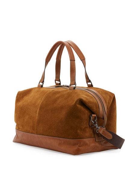 Chris Suede Overnight Duffel Bag, Sand