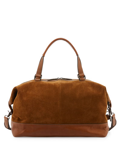 Chris Suede Overnight Duffel Bag, Sand