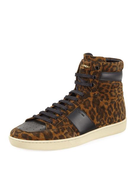 Saint Laurent SL/10H Leopard Suede High-Top Sneaker