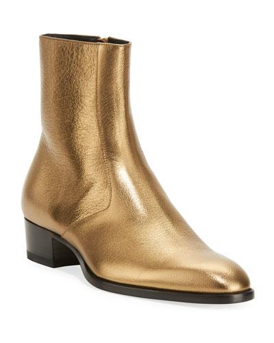Wyatt 40mm Men's Metallic Leather Ankle Boots  Gold