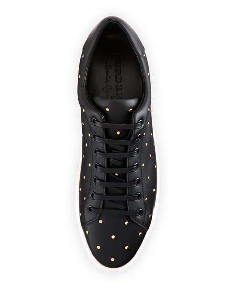 Albert Studded Leather Low-Top Sneakers, Black
