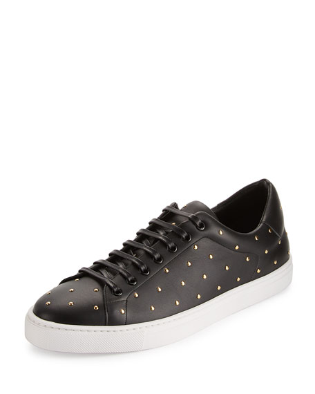 Burberry Albert Studded Leather Low-Top Sneakers, Black