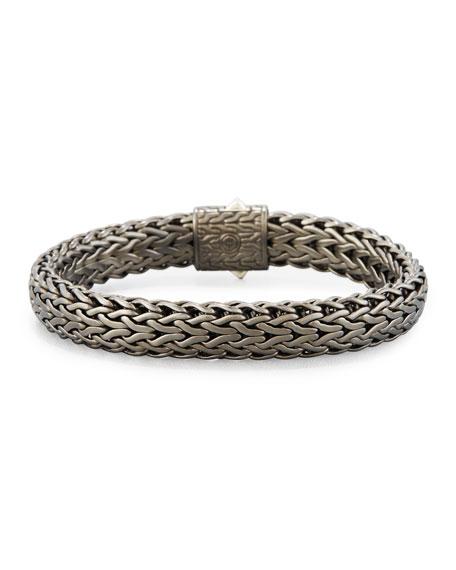 Men's Flat Classic Chain Bracelet, Dark Silver