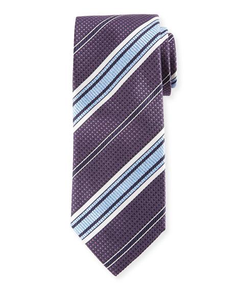 Textured Stripe Woven Silk Tie