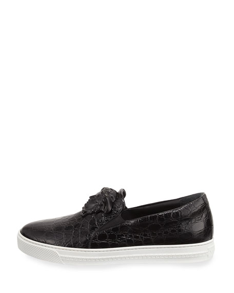 Palazzo Idol Crocodile-Embossed Leather Slip-On Sneaker, Black