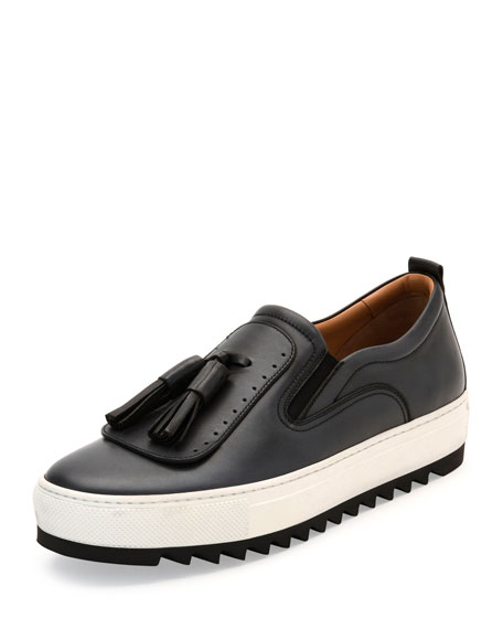 Salvatore Ferragamo Lucca Leather Sneaker with Oversized Tassels