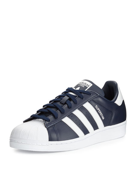 Adidas Men's Superstar Collegiate Leather Sneakers, Navy/White