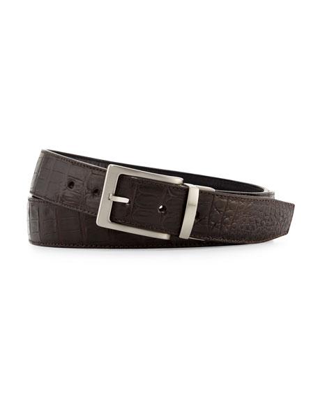 W.KLEINBERG Reversible Crocodile & Leather Belt Two-Buckle Box Set in Black/Brown