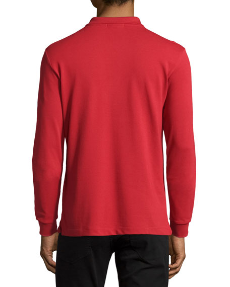 Long-Sleeve Oxford Polo Shirt, Red