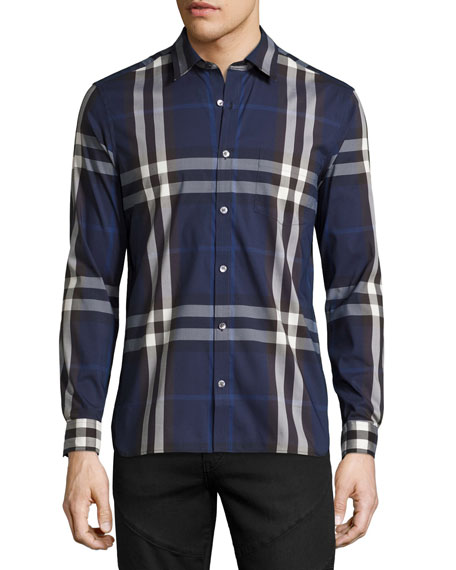 Burberry Nelson Check Stretch-Cotton Shirt