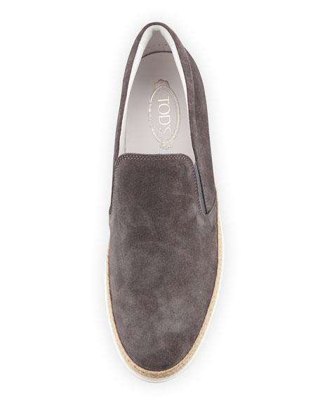 Suede Espadrille Slip-On Sneaker, Gray