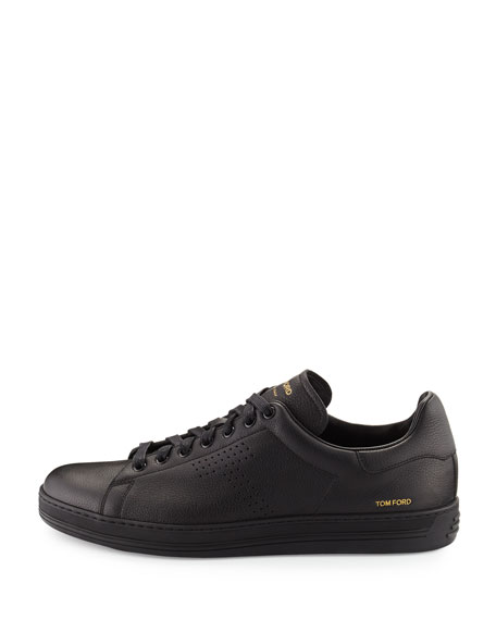 TOM FORD Men's Warwick Grained Leather Low-Top Sneakers, Black