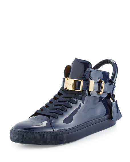 Buscemi 100mm Patent Leather High-Top Sneaker, Blue
