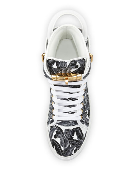 Image 2 of 3: 100mm Palm High-Top Sneaker, Black/White