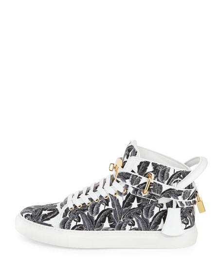 Image 3 of 3: 100mm Palm High-Top Sneaker, Black/White