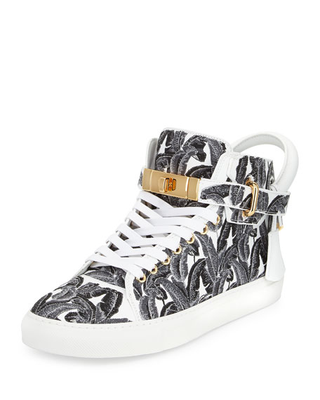 Image 1 of 3: 100mm Palm High-Top Sneaker, Black/White