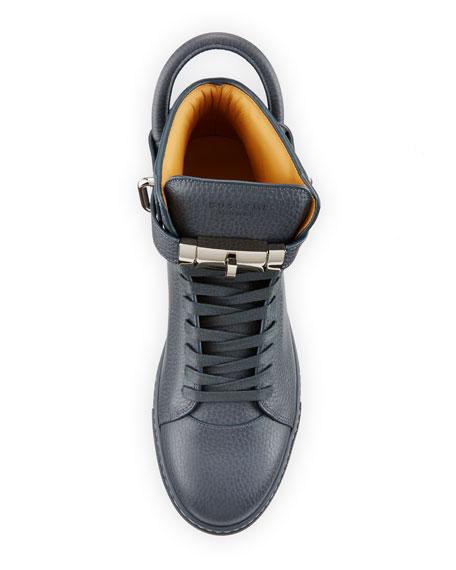 100mm Men's Leather High-Top Sneaker, Dark Gray
