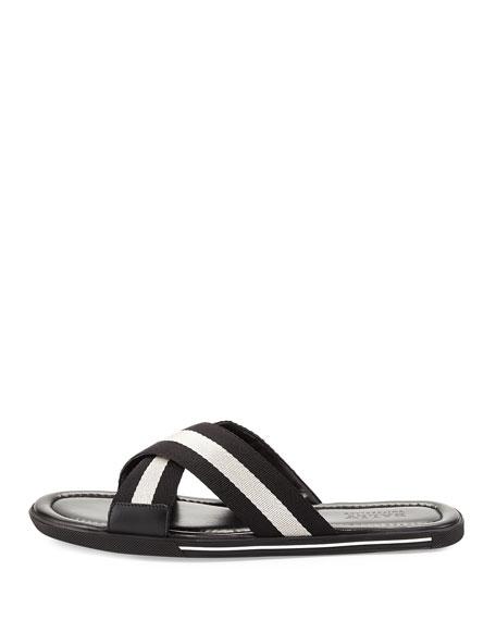 Bonks Men's Trainspotting-Stripe Fabric Slide Sandal, Black/White
