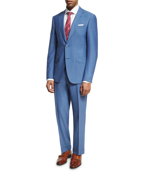 Solid Wool Two-Piece Suit, Light Blue