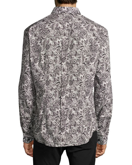Versace Collection Baroque Paisley Stretch-Cotton Sport Shirt