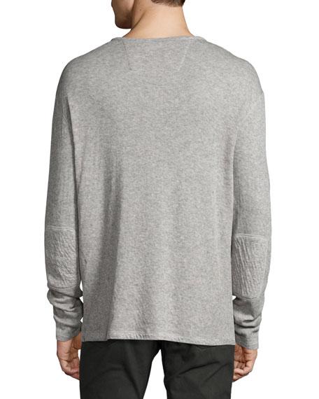 Lightweight Mini-Jacquard Henley Sweater