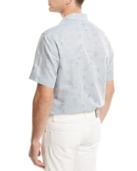 Floral Jacquard Short-Sleeve Sport Shirt, Light Blue