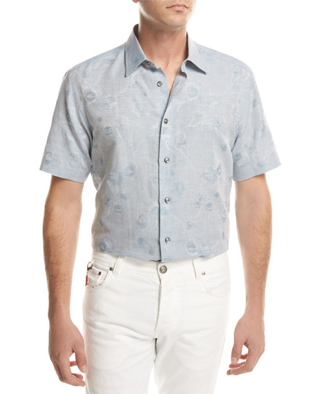 Brioni Floral Jacquard Short-Sleeve Sport Shirt, Light Blue