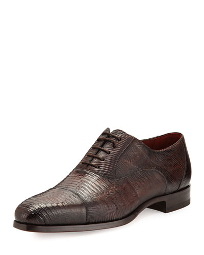 Lizard Cap-Toe Oxford Shoe, Medium Brown