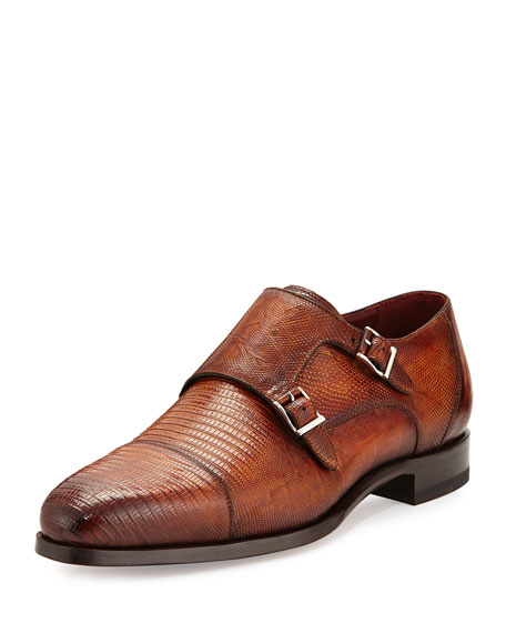 Magnanni for Neiman Marcus Lizard Double-Monk Shoes, Saddle