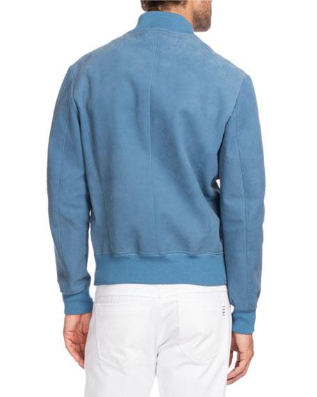 Leather Bomber Jacket, Blue