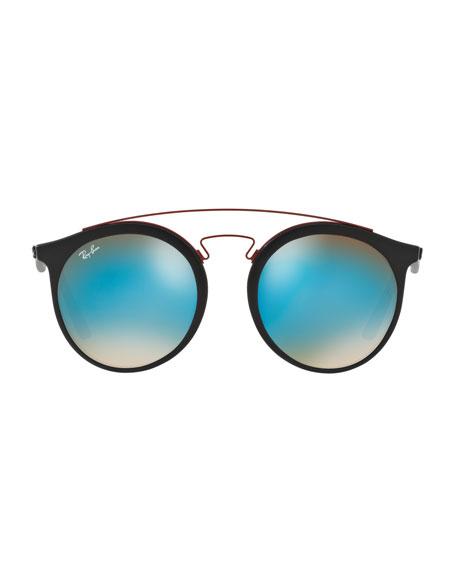 Men's Round Double-Bridge Mirrored Acetate Sunglasses