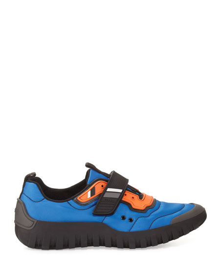 Men's Colorblock Nylon Scuba Sneakers, Blue/Orange