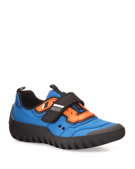 Prada Colorblock Nylon Scuba Sneaker, Blue/Orange