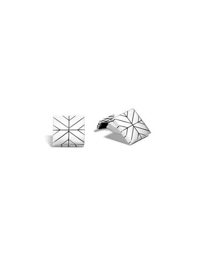 Modern Chain Sterling Silver Square Cuff Links
