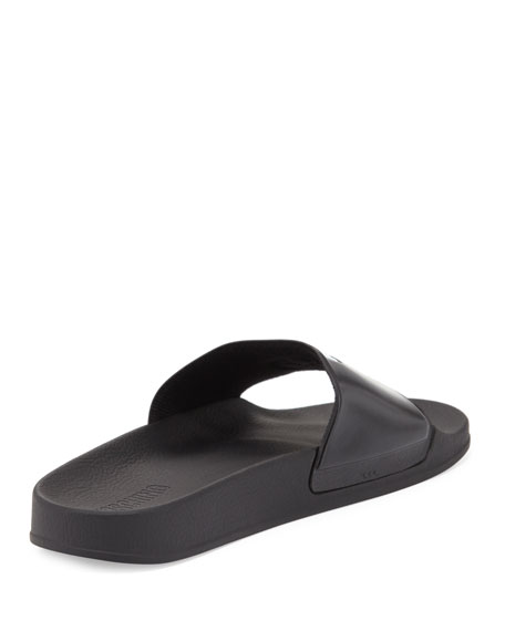 Double Question Mark Logo Rubber Slide Sandal, Black