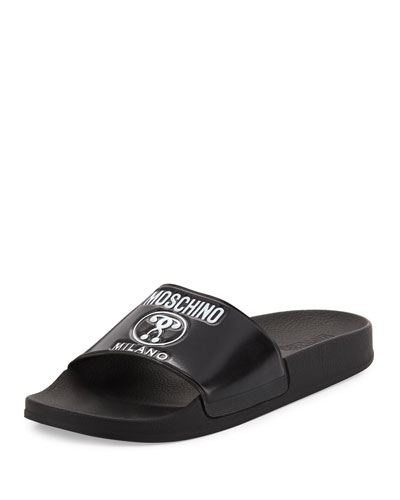 Double Question Mark Logo Rubber Slide Sandal, Black