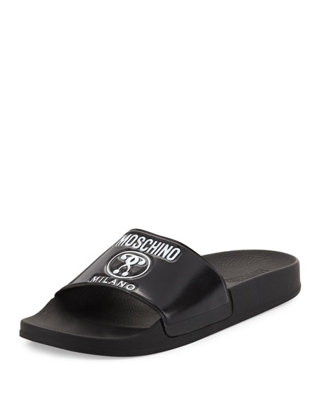 Moschino Double Question Mark Logo Rubber Slide Sandal,