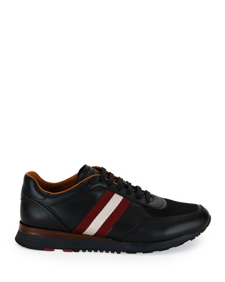 Bally Men's Leather Trainer Sneakers w/Trainspotting Stripe, Black