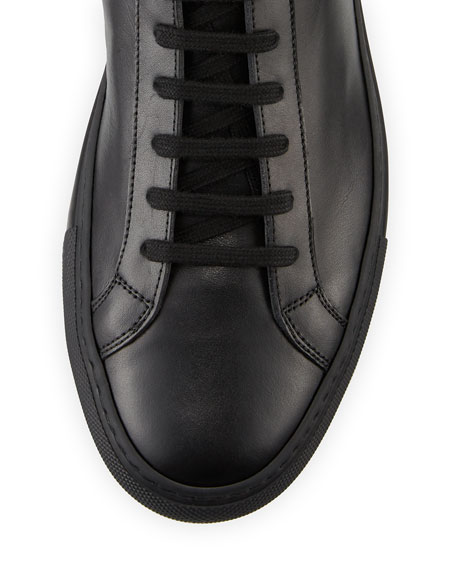 Men's Basic Leather High-Top Sneakers, Black