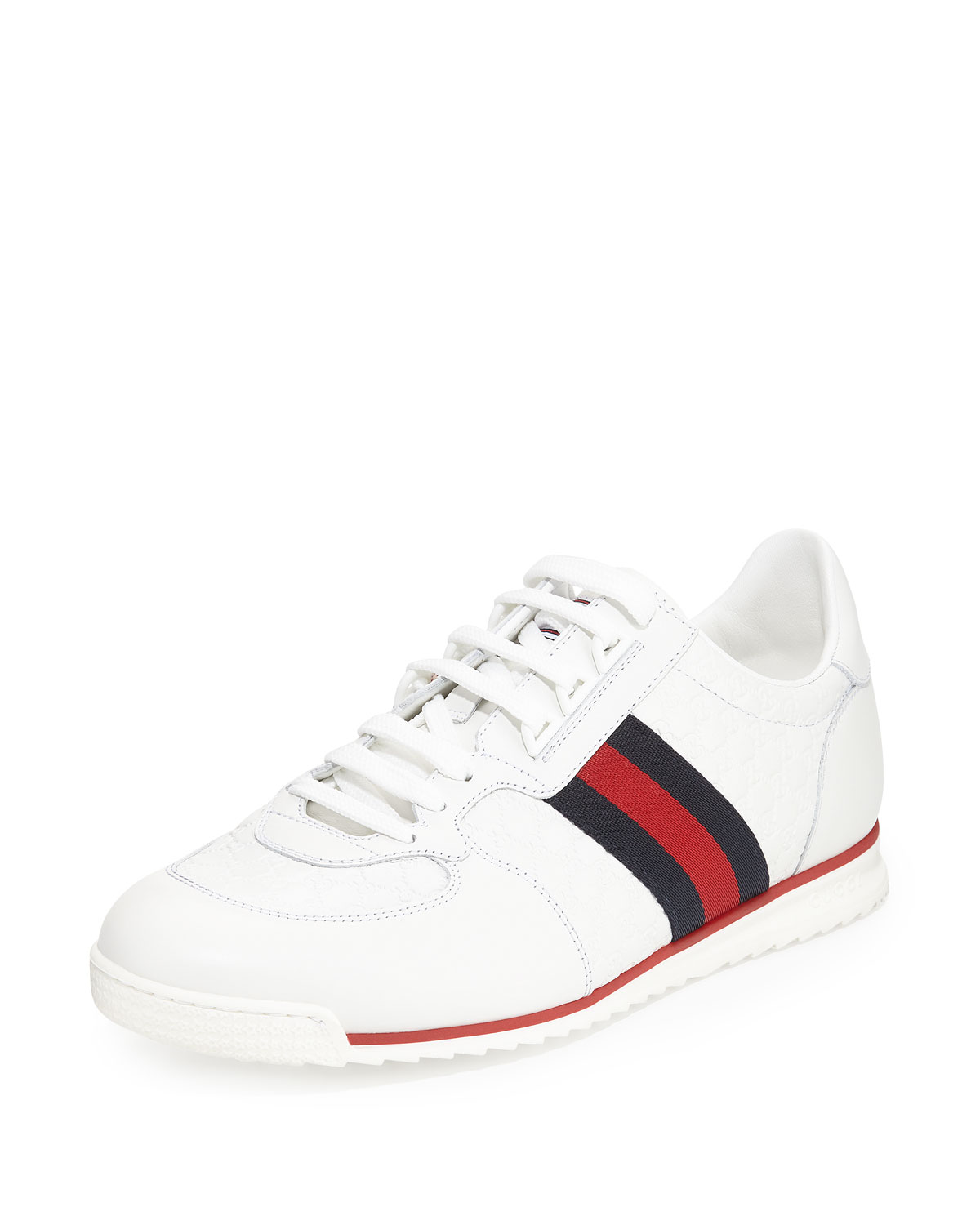 f3660cf42 Gucci Lace-Up Sneaker with Web Detail | Neiman Marcus