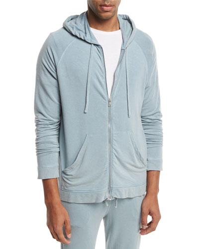 Jersey Fleece-Lined Zip-Front Hoodie